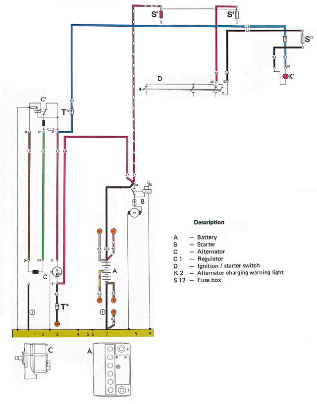 Wiring charging system tests 1973 Super Beetle Wiring Diagram at crackthecode.co