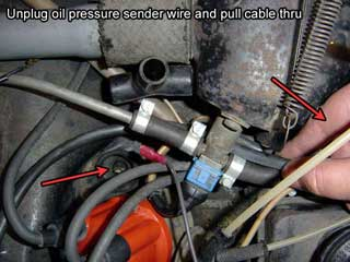 72 79 bus engine removal in 20 easy steps 9 2 disconnect the wiring from the oil pressure sender less stress than unplugging it at the 2 way tee and pull the wires from under the fuel rail