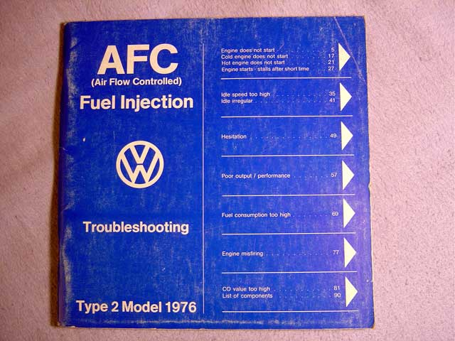 Repair manuals afc manual afc air flow controlled fuel injection troubleshooting type 2 model 1976 part number us 42 00 5955 1 printed in germany 1275 publicscrutiny Images